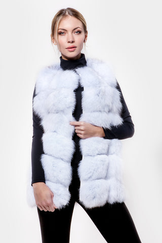 Natural white fur vest