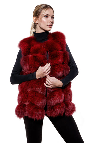 Wine red fur vest