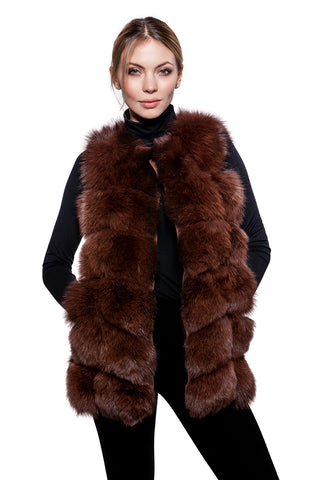 Brown fur vest
