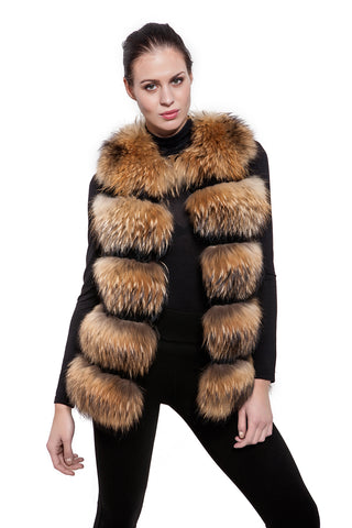 Real raccoon brown fur vest