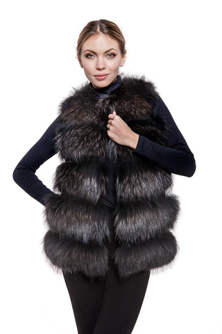 Real raccoon black fur vest
