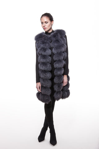 Dark grey long fur vest