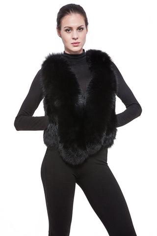 Black short fur vest