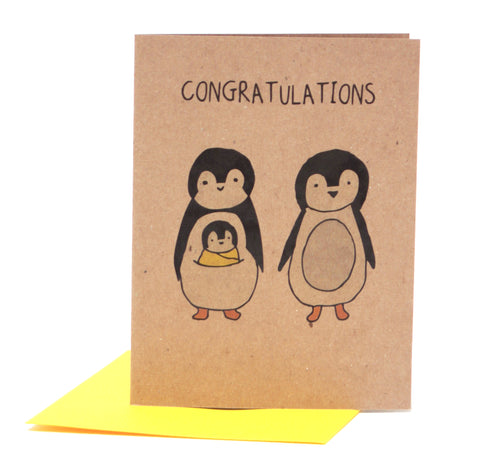 Cute Penguin New Baby Greeting Card