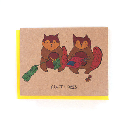 Crafty Foxes Greeting Card
