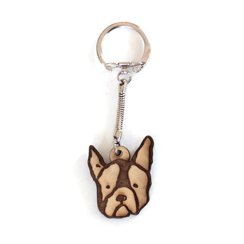 Frenchie Wood Keychain Gift