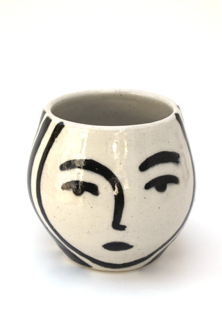 Handmade Ceramic Planter with Face illustration