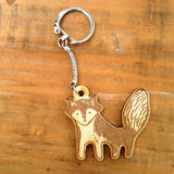 Wooden Engraved Fox Keychain Gift