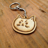Wooden Cat/ Kitty Face Keychain Gift