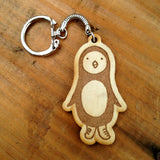 Penguin Wood Keychain