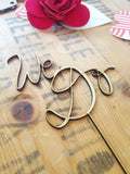 "Wedding ""We Do"" elegant handscript wood cake topper"