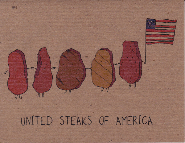 United Steaks of America Greeting Card