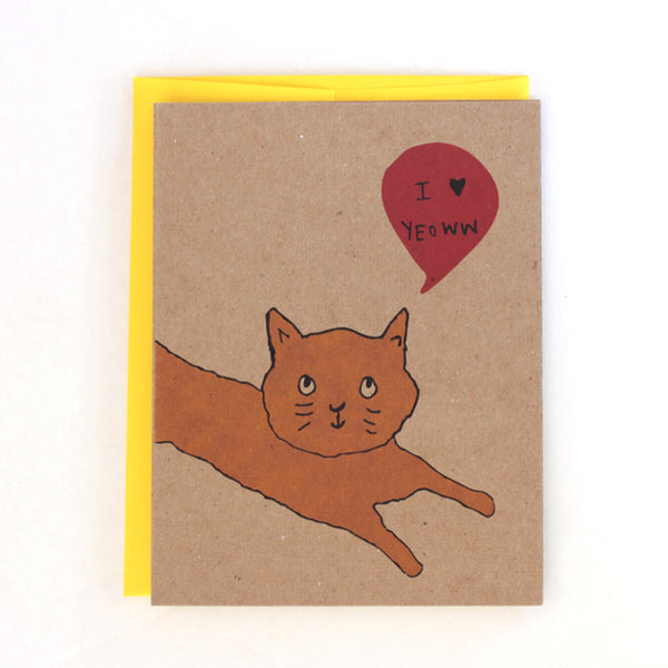 I love Yeowwww Cat Greeting Card