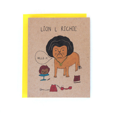 Lion L Richie Hello Greeting card