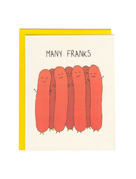 Many Franks Greeting Card