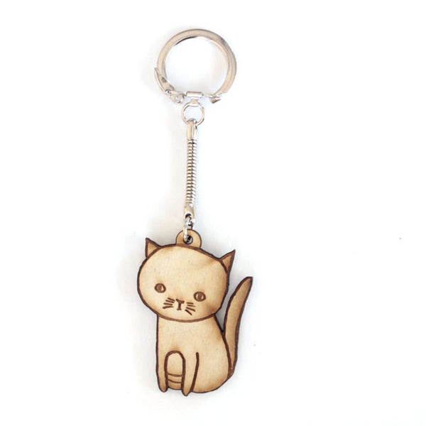 Sitting Cat Keychain