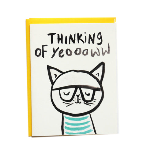 Thinking of Yeoowww Cat Greeting Card
