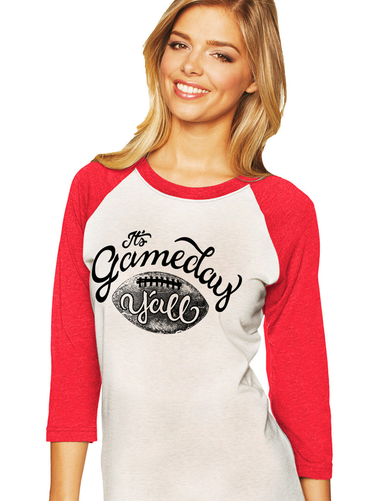 Red/Black Script Gameday Y'all Baseball Tee