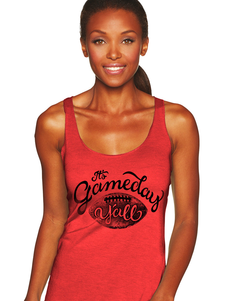 Red/Black Script Gameday Y'all Tank
