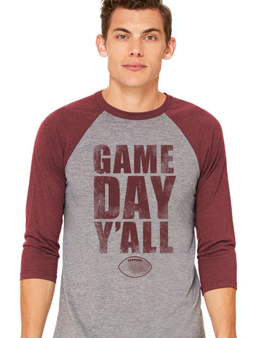 Maroon/Maroon Athletic Gameday Y'all Baseball Tee