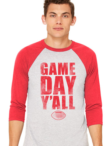 Red/White Athletic Gameday Y'all Baseball Tee