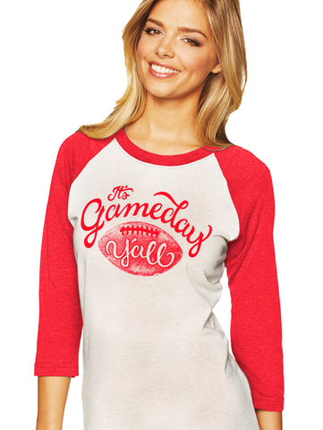 Red/White Script Gameday Y'all Baseball Tee