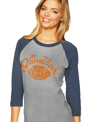 Navy/Orange Script Gameday Y'all Baseball Tee