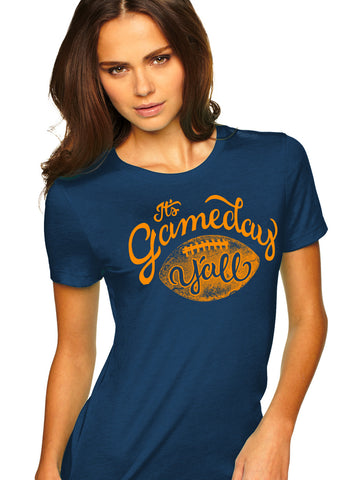 Navy/Orange Script Gameday Y'all Tee