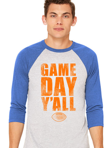 Royal/Orange Athletic Gameday Y'all Baseball Tee