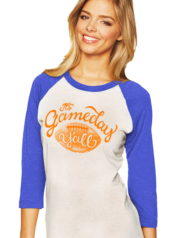 Royal/Orange Script Gameday Y'all Baseball Tee