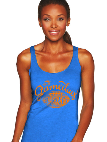 Royal/Orange Script Gameday Y'all Tank