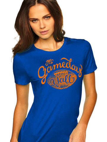 Royal/Orange Script Gameday Y'all Tee