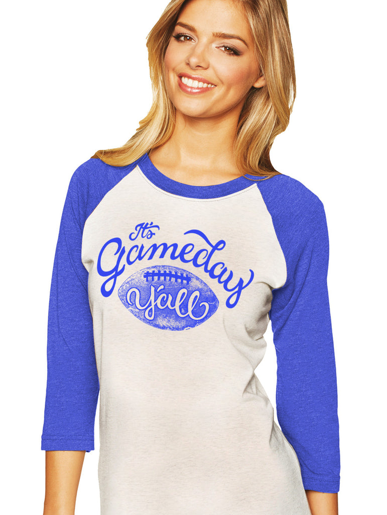 Royal/Royal Script Gameday Y'all Baseball Tee
