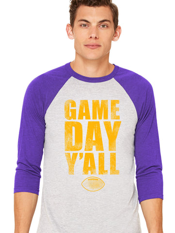 Purple/Gold Athletic Gameday Y'all Baseball Tee