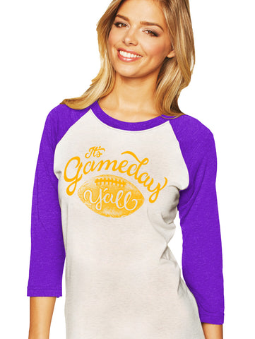 Purple/Gold Script Gameday Y'all Baseball Tee
