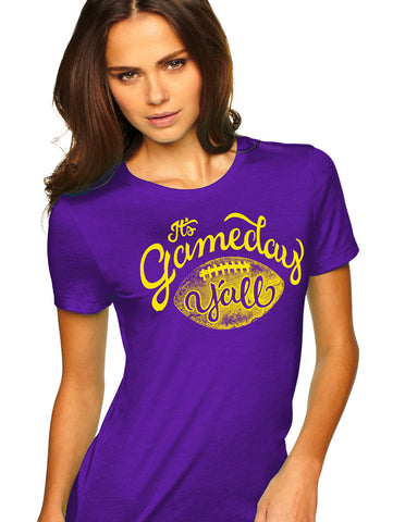 Purple/Gold Script Gameday Y'all Tee