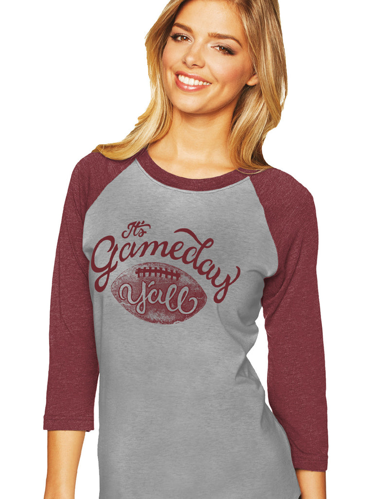 Maroon/Maroon Script Gameday Y'all Baseball Tee