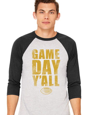 Black/Gold Athletic Gameday Y'all Baseball Tee