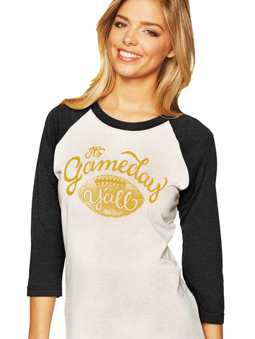 Black/Gold Script Gameday Y'all Baseball Tee