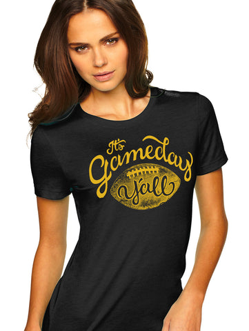 Black/Gold Script Gameday Y'all Tee