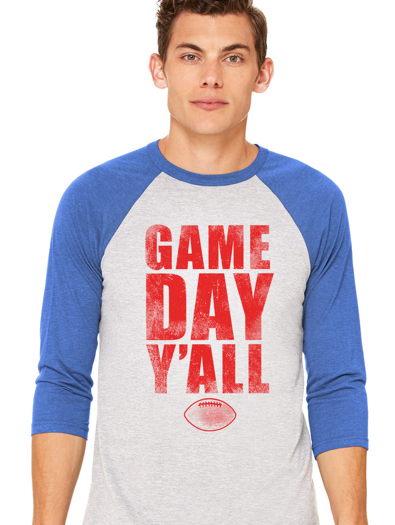 Royal/Red Athletic Gameday Y'all Baseball Tee