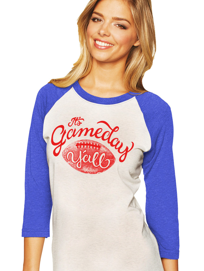Royal/Red Script Gameday Y'all Baseball Tee