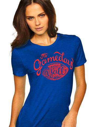 Royal/Red Script Gameday Y'all Tee