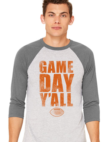 Grey/Burnt Orange Athletic Gameday Y'all Baseball Tee