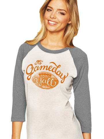 Grey/Burnt Orange Script Gameday Y'all Baseball Tee