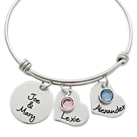 FAMILY HEART BANGLE BRACELET