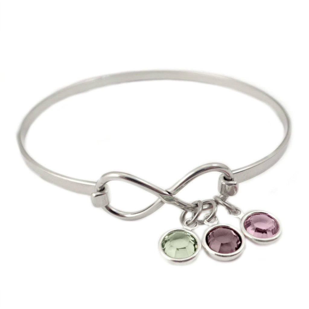 INFINITY BIRTHSTONE BANGLE BRACELET