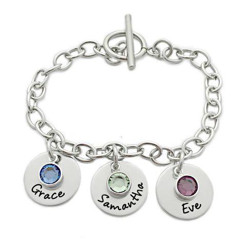 NAME AND BIRTHSTONE LINK CHARM BRACELET