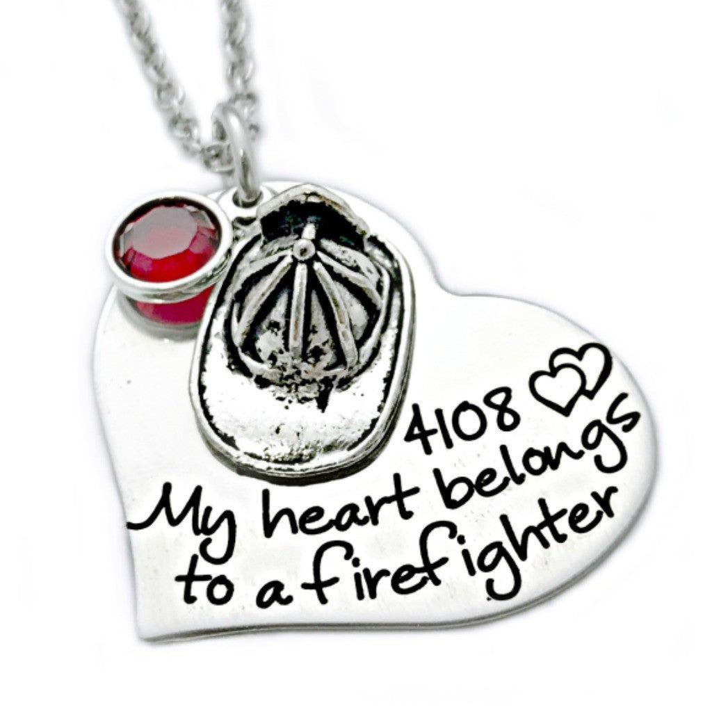 MY HEART BELONGS TO A FIREFIGHTER HEART NECKLACE