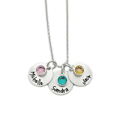 NAME AND BIRTHSTONE CHARM NECKLACE